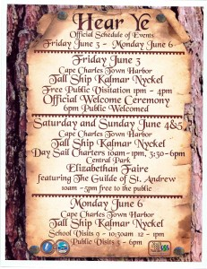Poster of the events in Cape Charles, VA