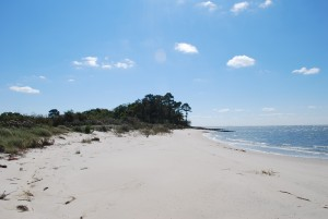 Sand beach at &quot;Beach Villa&quot;, a Cape Charles VA vacation rental home