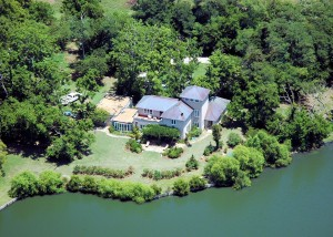 "Aerial view of ""Beach Villa"", a beachfront home near Cape Charles VA"
