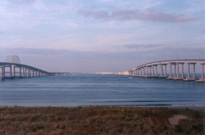 View of the two spans of the 17 mile long Chesapeake Bay Bridge & Tunnel connecting the Virginia Eastern SDhore to the Virginia mainland.
