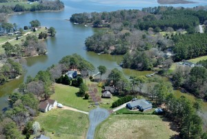 Aerial view of contemporary Eastern Shore VA waterfront home near Jamesville VA
