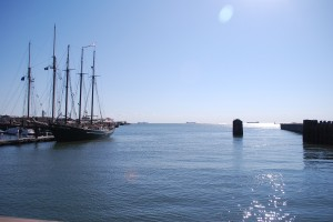 "The sailing ship ""Alliance"" moored at the Cape Charles Harbor for the Tall Ships Festival"