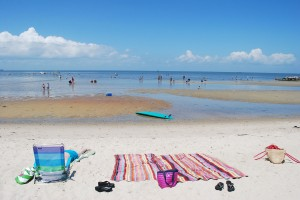 Beach blanket and flip flops at Cape Charles VA beach