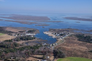 Aerial view of Oyster VA harbor