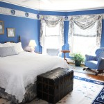 Evans dark blue bedroom
