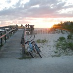 Sunset with Bikes and people on deck