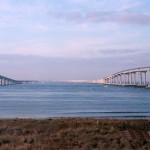 view of both spans of the Chesapeake Bay Bridge Tunnel